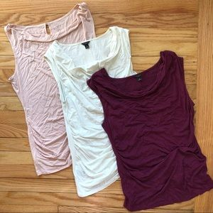 LOFT 3 for 1 side ruched, cowl neck tank tops
